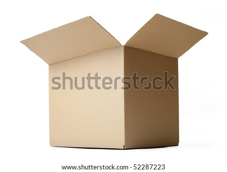 Corrugated cardboard box isolated on white background. - stock photo