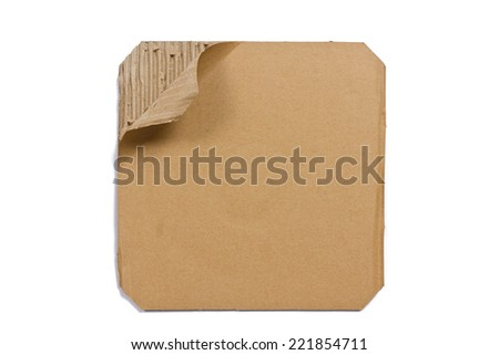 Corrugated cardboard - brown paper sheet, isolated on white background