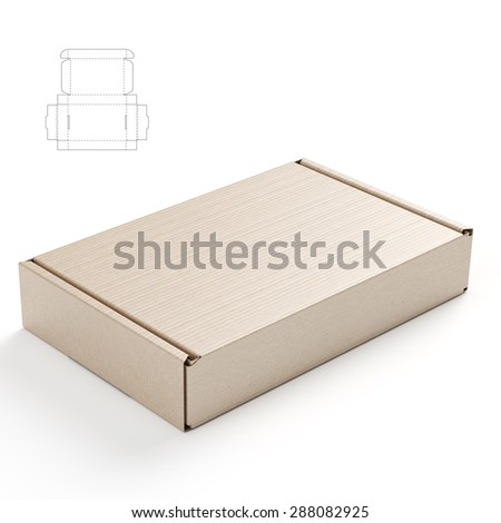 Corrugated Cardboard Closed Empty Box with Blueprint Template