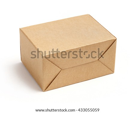 Corrugated cardboard paper carton cargo container box isolated on white background, deep focus stacking image - stock photo