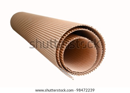 corrugated cardboard rolled up, isolated on white background - stock photo