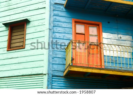 Corrugated homes in La Boca - Buenos Aires - stock photo
