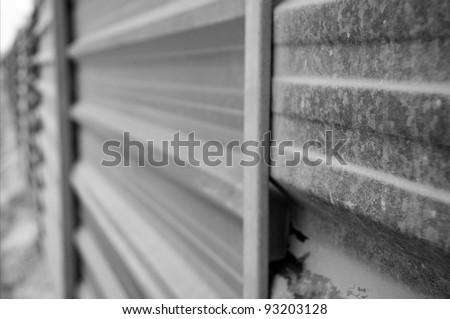 corrugated iron fence - stock photo