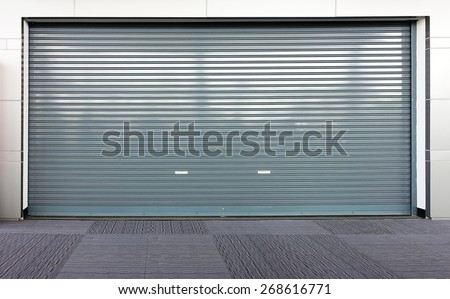 Corrugated metal sheet,Slide door ,Roller shutter texture - stock photo