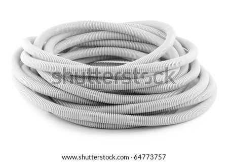 Corrugated Pipe for posting isolated on white background - stock photo