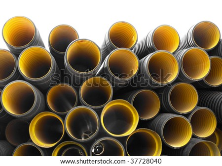 Corrugated pipes - stock photo