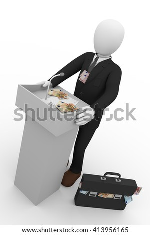 Corrupt politician giving speech at rostrum surrounded by bank notes. 3D rendering, 3d illustration - stock photo