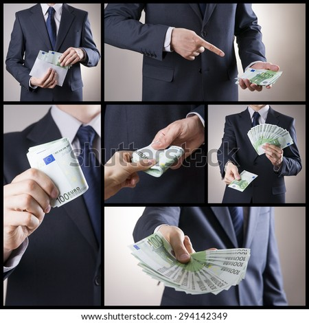 Corruption and business collage. Businessman holding one hundred euro banknotes - stock photo