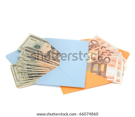 Corruption concept. Envelope full with money isolated on white. - stock photo