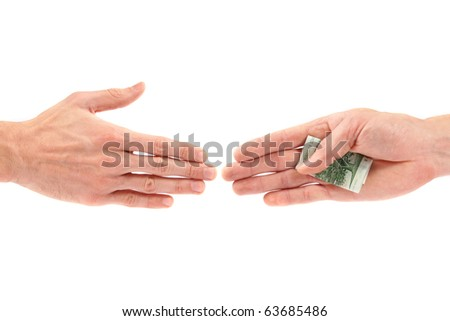 corruption concept: hand giving bribe to other - stock photo