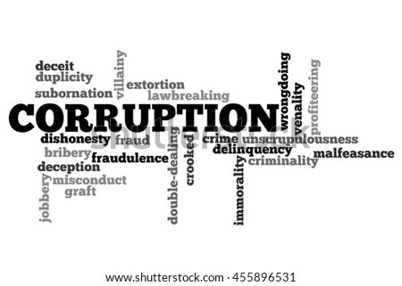 Corruption info text word cloud concept on white background - stock photo
