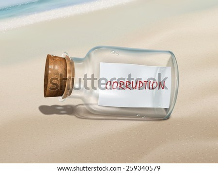 corruption message in a bottle isolated on beautiful beach - stock photo