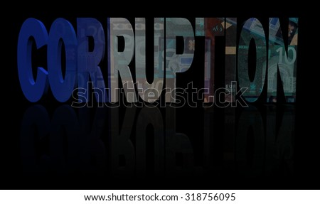 Corruption text with French flag and currency illustration - stock photo