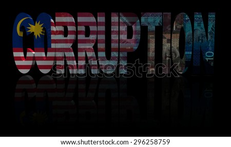 Corruption text with Malaysia flag and currency illustration - stock photo
