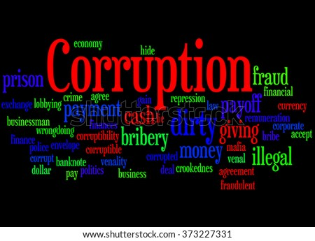 Corruption, word cloud concept on black background.   - stock photo