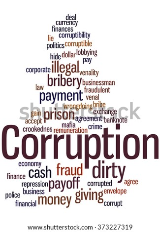 Corruption, word cloud concept on white background.
