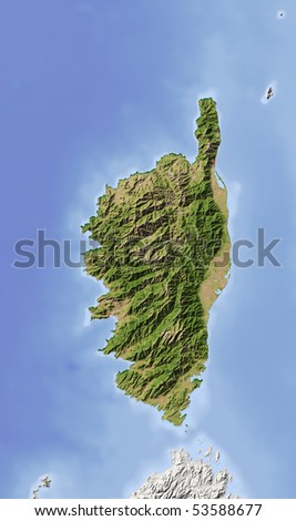 Corsica. Shaded relief map. Colored according to vegetation. Includes clip path for the land area. - stock photo