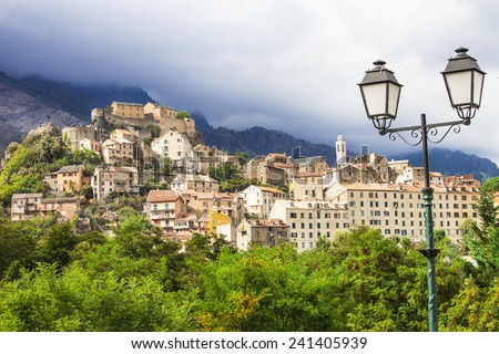 Corte - beautiful medieval town in Corsica - stock photo