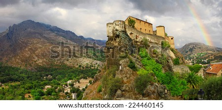 Corte - impressive medieval town in Corsica, view with citadel a - stock photo