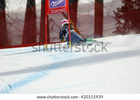 Cortina d ??Ampezzo, Italy 24 January 2016. FANCHINI Nadia (Ita) competing in the Audi Fis Alpine Skiing World Cup Women Super G on the Olympia Course in the dolomite mountain range.