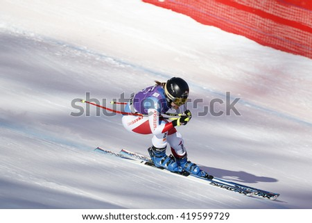 Cortina d'??Ampezzo, Italy 23 January 2016. SUTER Fabienne(Sui) competing in the Audi Fis Alpine Skiing World Cup Women'??s downhill Race on the Olympia Course in the dolomite mountain range.