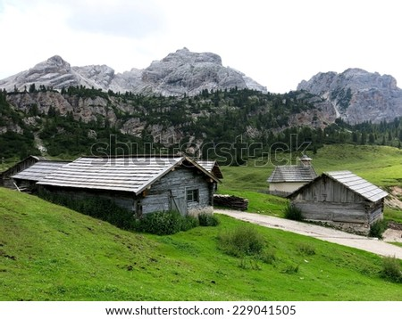 Cortina d'Ampezzo mountain village remote ghost town nature. - stock photo