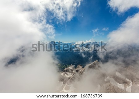 Cortina d'Ampezzo seen from the clouds