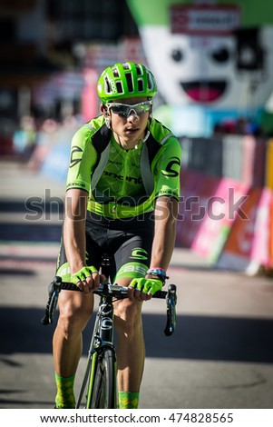 Corvara, Italy May 21, 2016; Davide Formolo, professional cyclist,  pass the finish line of the queen stage of the Tour of Italy 2016 with arrival in Corvara