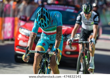 Corvara, Italy May 21, 2016; Vincenzo Nibali, professional cyclist,  pass the finish line of the queen stage of the Tour of Italy 2016 with arrival in Corvara.