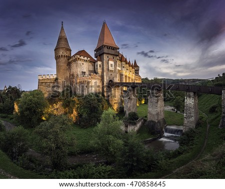 Corvin Castle or Hunyad Castle, Hunedoara, Romania, August 18th, 2016
