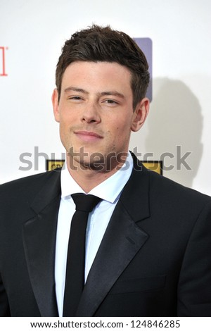 Cory Monteith at the 18th Annual Critics' Choice Movie Awards at Barker Hanger, Santa Monica Airport. January 10, 2013  Santa Monica, CA Picture: Paul Smith - stock photo