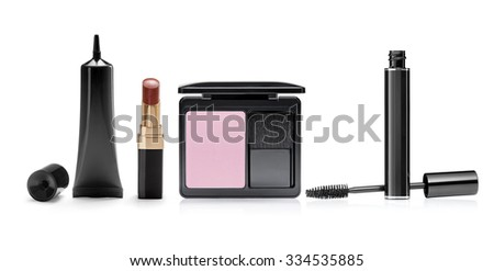 Cosmetic and beauty products on a white background - stock photo
