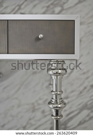 cosmetic and beauty table in bathroom marble wall - stock photo