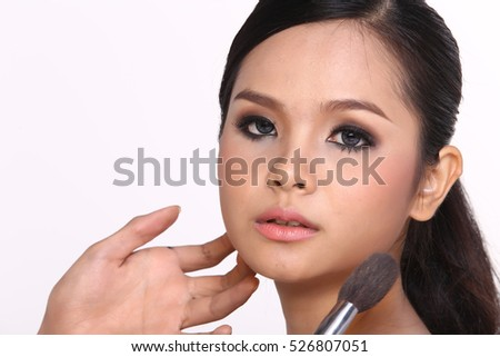 Cosmetic, Applying Make up, Beauty Process, white studio background, Perfect Healthy Skin, Brushing on