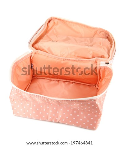 Cosmetic bag isolated on white - stock photo