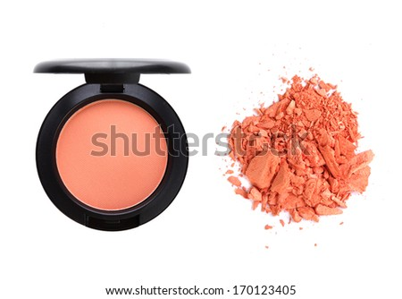 Cosmetic blush, container and crushed isolated on white background.