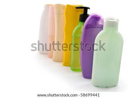 Cosmetic bottles on a white background