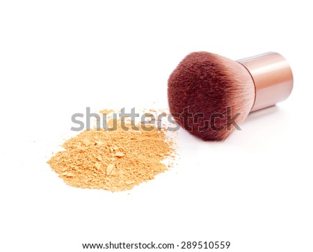 cosmetic brush and powder isolated on white - stock photo