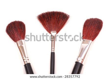 Cosmetic brushes for a make-up, various width and used for the various purposes.