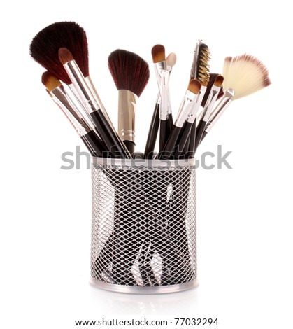 cosmetic brushes in cup white - stock photo