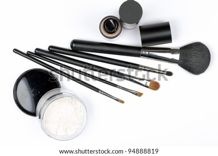 cosmetic brushes in detail - stock photo