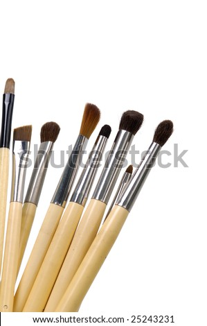 cosmetic brushes isolated on a white
