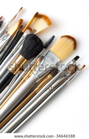 cosmetic brushes isolated on white - stock photo