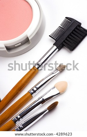 Cosmetic brushes with face powder in white background.
