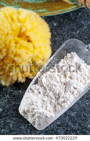 Cosmetic clay, spa treatment objects, sponge, top view