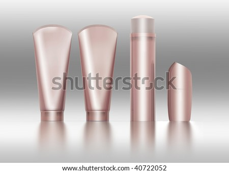 cosmetic container templates 3D render - stock photo