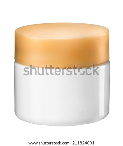 Cosmetic cream container / studio photography of white plastic container with colorful cap - isolated on white background