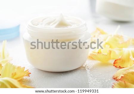 Cosmetic cream for skin care - stock photo