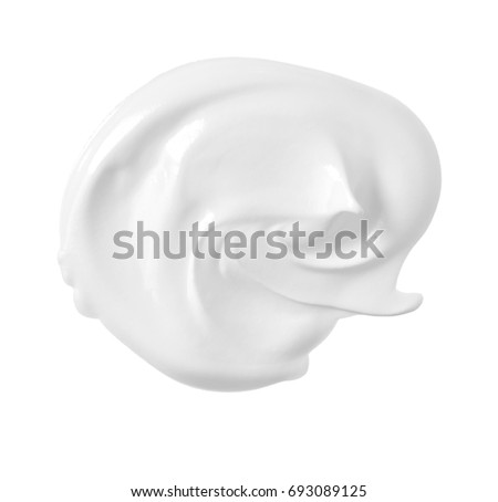 Cosmetic cream or yogurt on white background