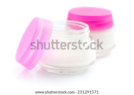 Cosmetic creams isolated on white background - stock photo